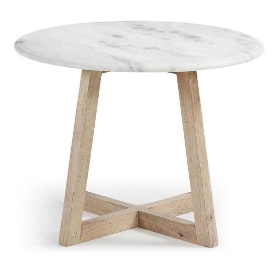 Mesa auxiliar madera natural marmol blanco 50cm