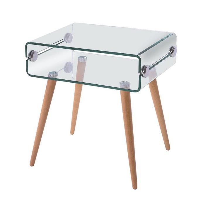 Mesa auxiliar nordica cristal transparente 55x40