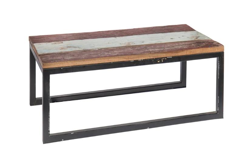 Mesa auxiliar en madera hierro 90x50x38 cm