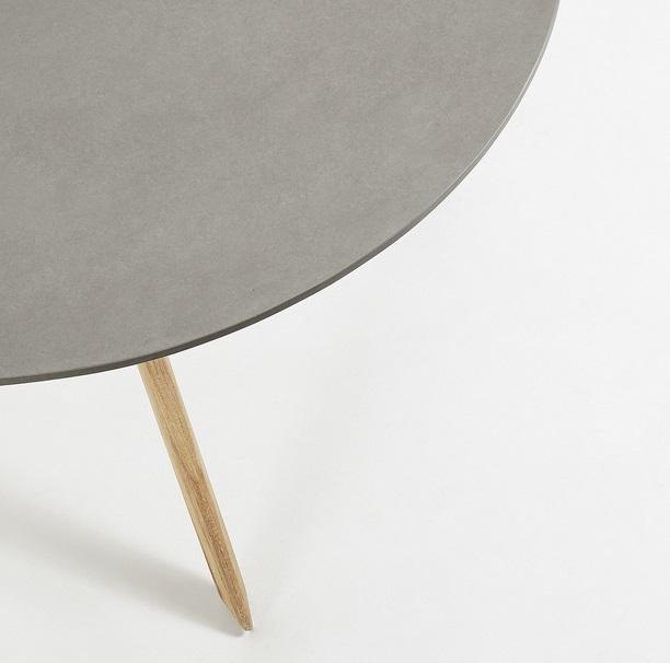 Mesa calma redonda cemento gris pies madera 120cm