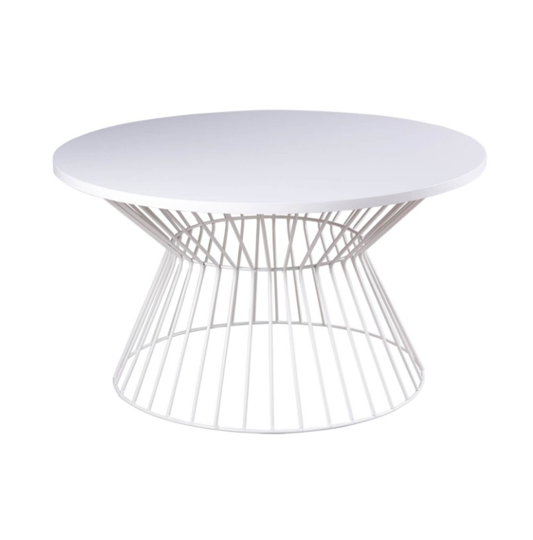 Mesa de centro Hugo madera acabado blanco 80 cm