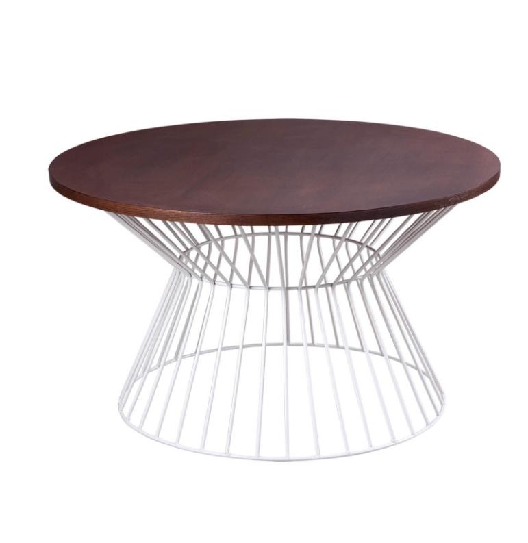 Mesa de centro Hugo madera nogal blanco 80 cm