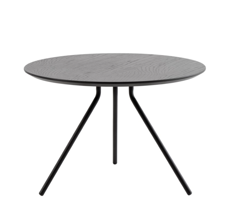 Mesa de centro Brian madera de roble tintada negra 60 cm