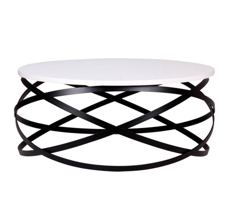 Mesa centro Dario madera blanco y metal negro 80 cm