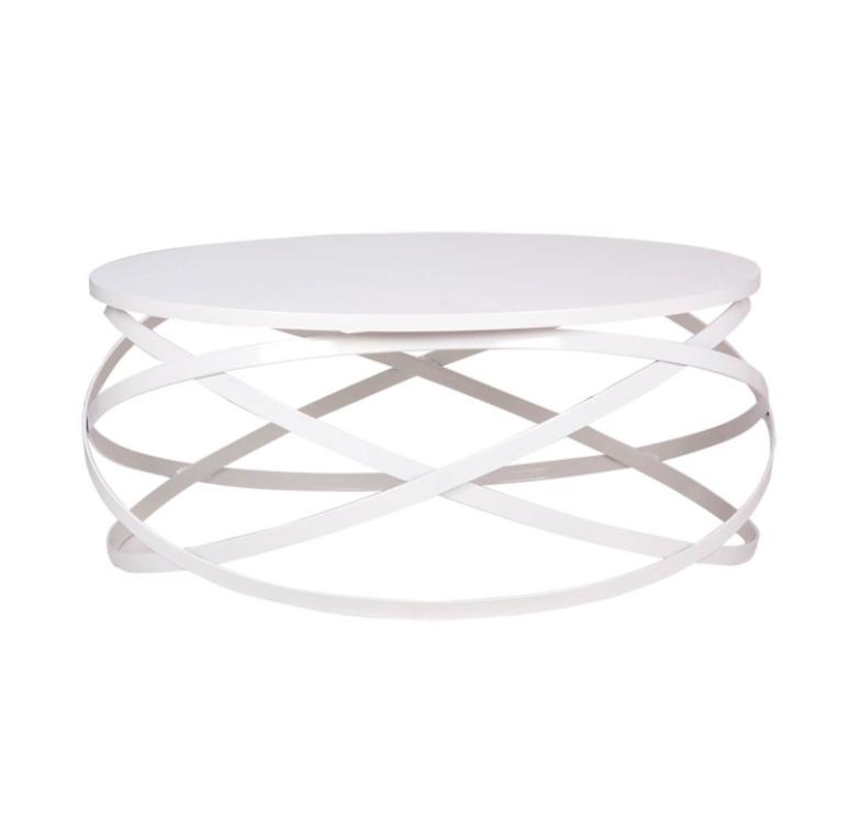 Mesa centro Dario madera blanco y metal blanco 80 cm