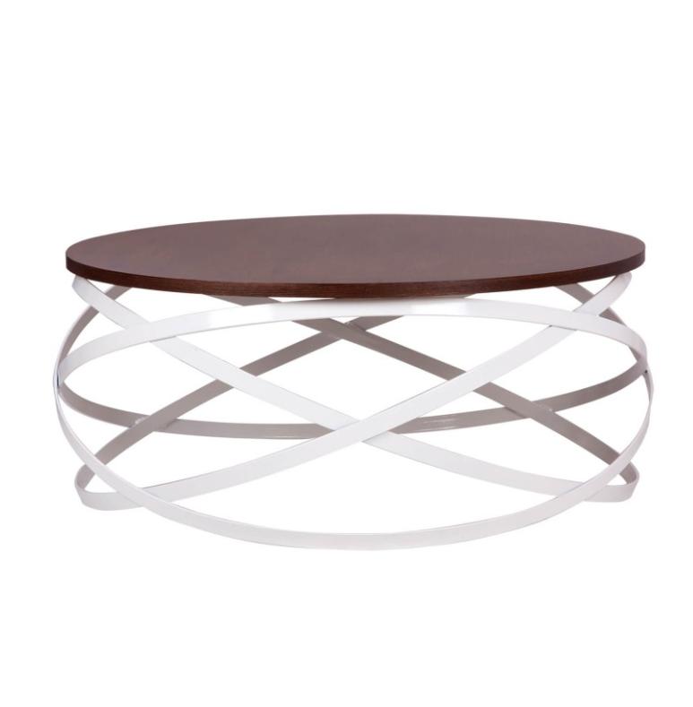 Mesa centro Dario madera nogal y metal blanco 80 cm