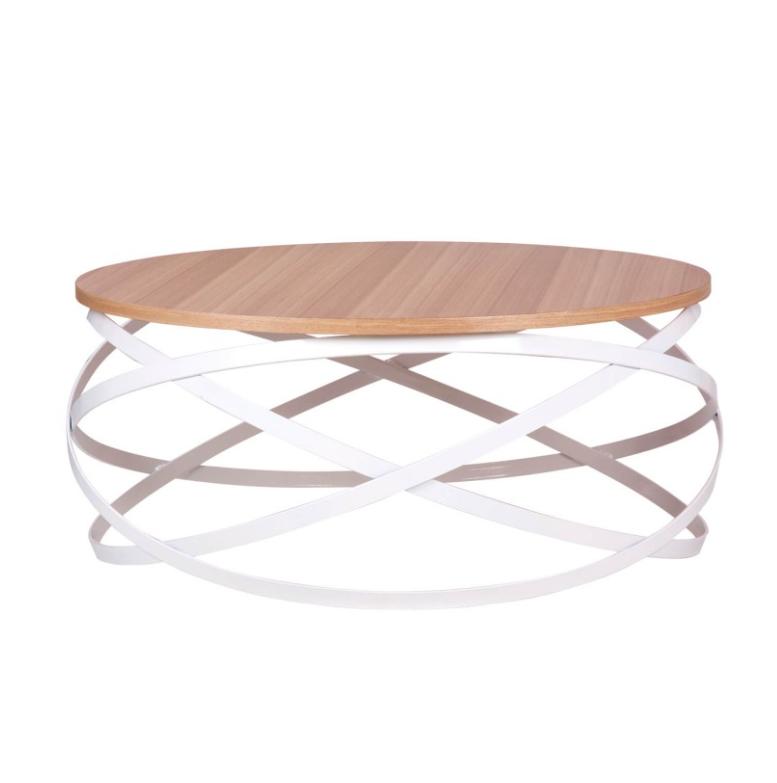 Mesa centro Dario madera roble y metal blanco 80 cm