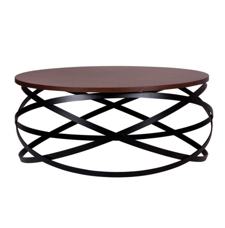 Mesa centro Dario madera nogal y metal negro 80 cm
