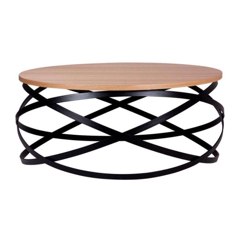 Mesa centro Dario madera roble y metal negro 80 cm