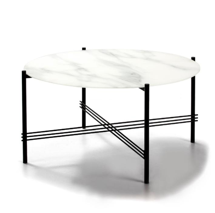 Mesa de centro Kendall cristal marmol blanco 84 cm
