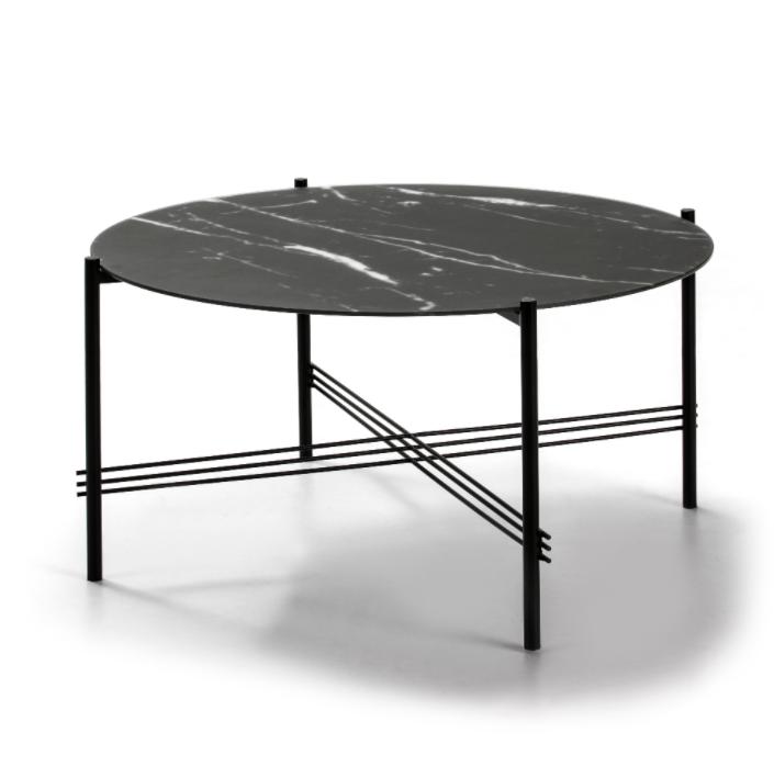 Mesa de centro Kendall cristal marmol negro 84 cm