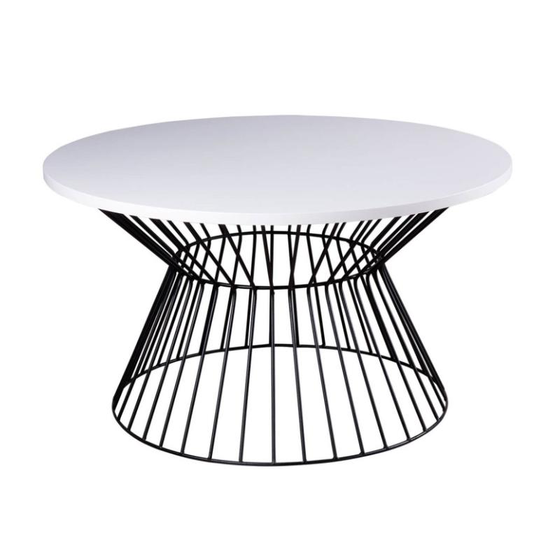 Mesa de centro Hugo chapa de madera acabado blanco 80 cm