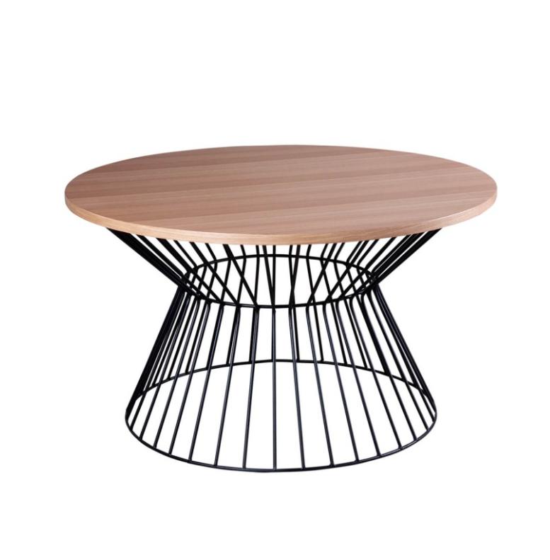 Mesa de centro Hugo madera roble negro 80 cm