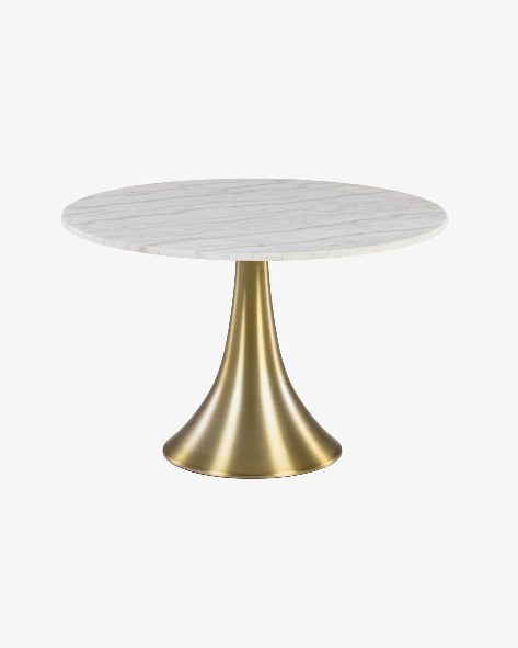 Mesa Gloria de mármol blanco patas acero dorado 120 cm