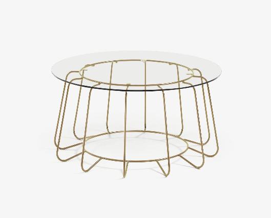 Mesa de centro Ornela de cristal y acero acabado dorado 80 cm
