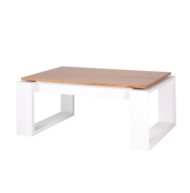 Mesa elevable Porto madera de roble blanco 110x60 cm