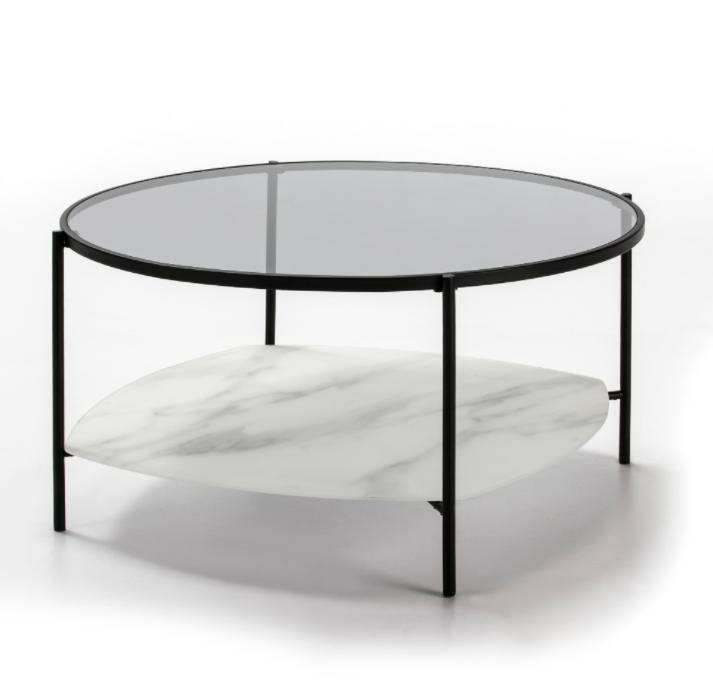Mesa centro redonda Kelly cristal marmol blanco 86 cm