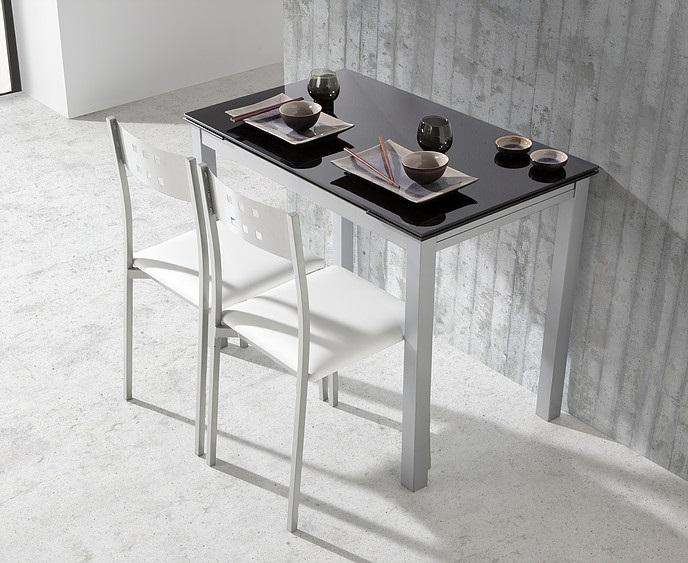 Mesa de cocina extensible Sintra cristal negro