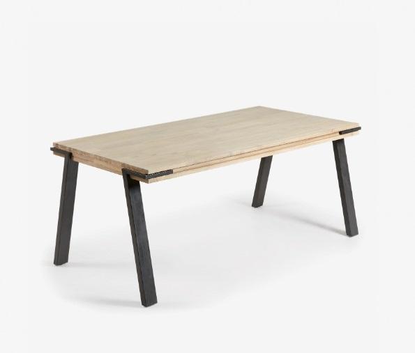 Mesa de comedor Budapest madera maciza de acacia 160x90 cm