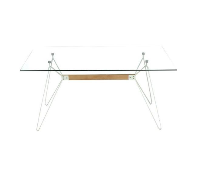 Mesa de diseño multiusos Alisa cristal transparente 160x90 cm