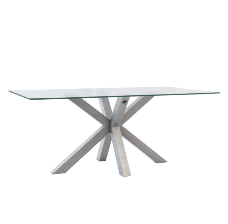 Mesa de comedor Demi cristal cromo 180 cm