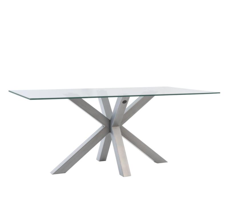 Mesa de comedor Demi cristal cromo 140 cm