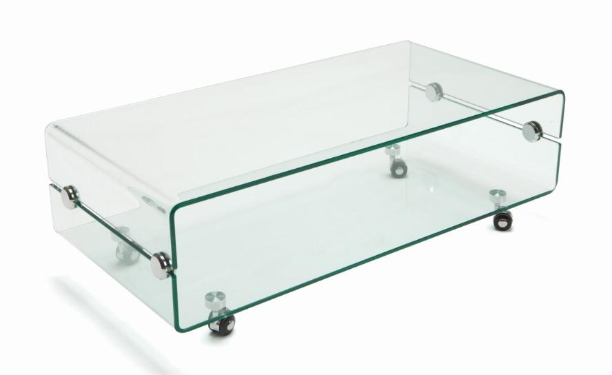 Mesa de centro de cristal con ruedas 100x50