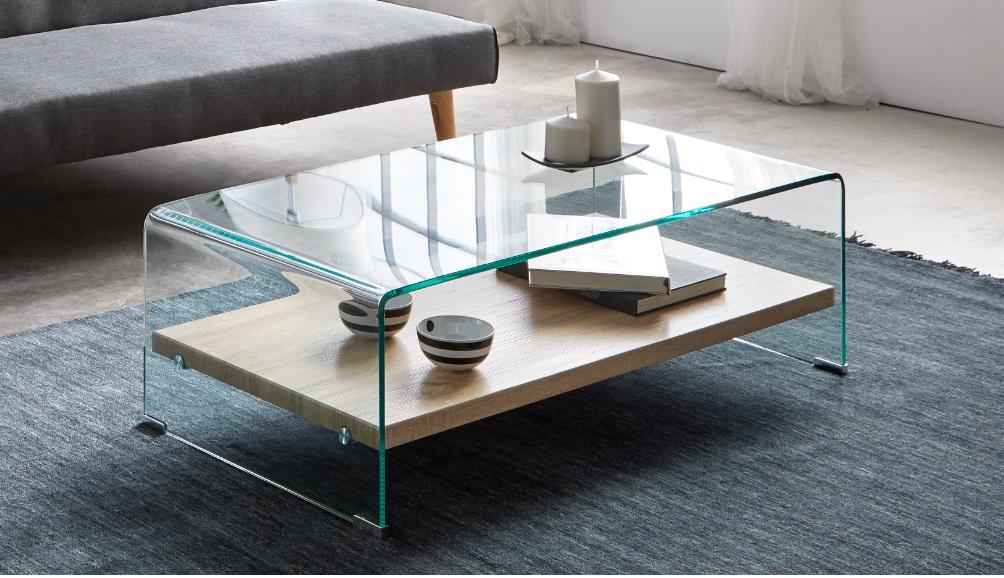 Mesa de centro cristal balda madera CT-225