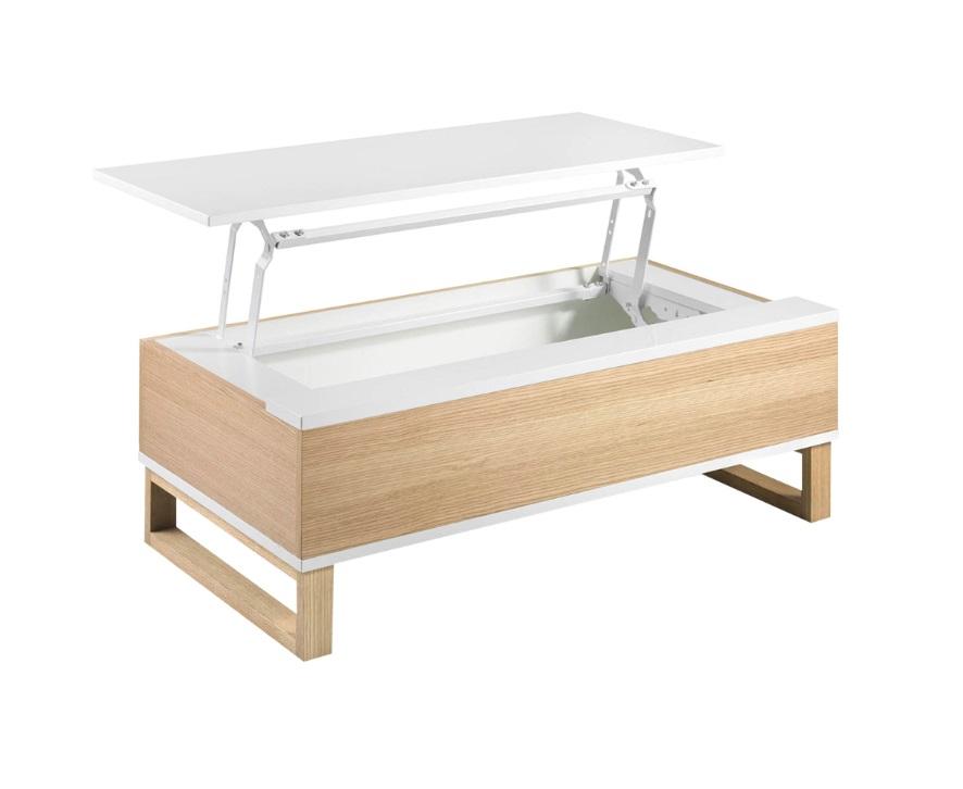Mesa de centro elevable dover blanco brillo roble 110x60
