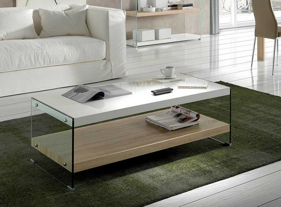 Mesa de centro Libra blanco brillo roble 120x60