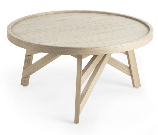 Mesa de centro madera natural redonda 80