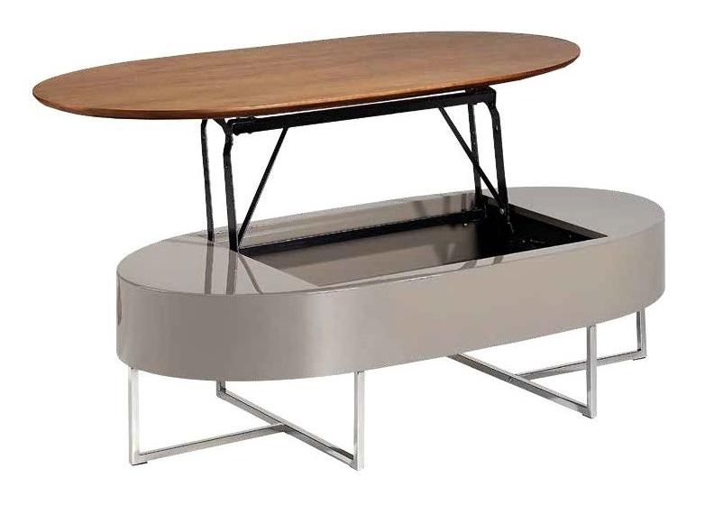 Mesa de centro elevable madera nogal lacado moka 120x60