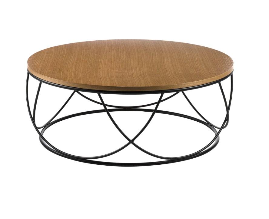 Mesa de centro Aura roble acero negro 80 cm