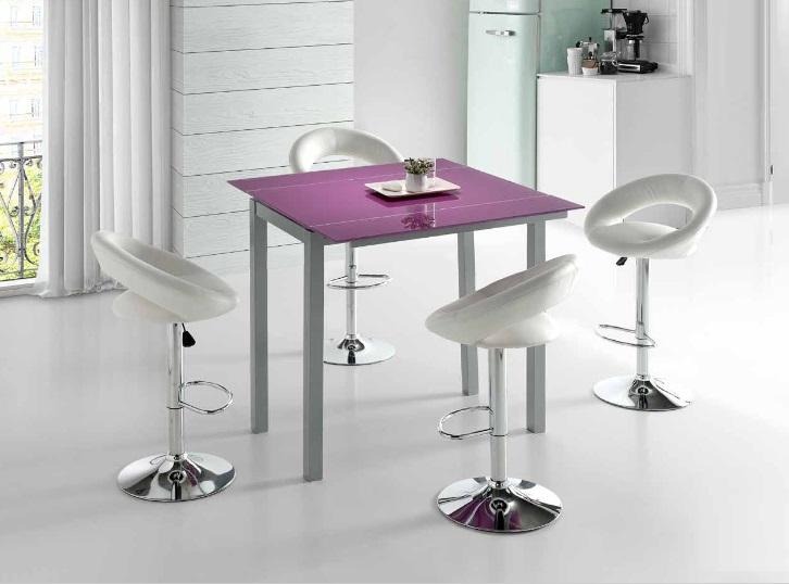 Mesa de cocina alta extensible Leiria cristal morado