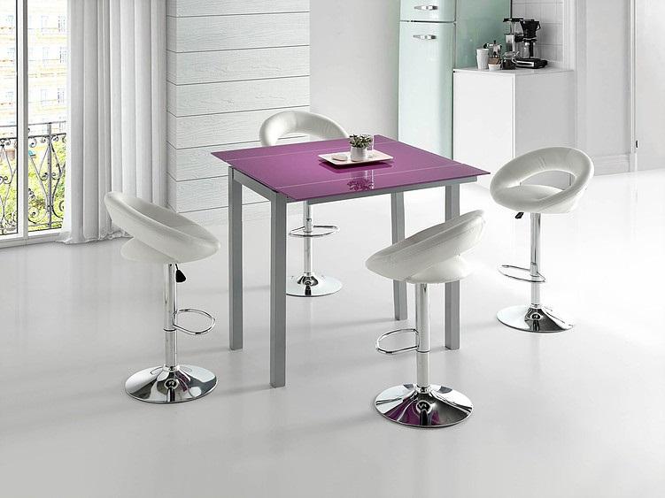Conjunto de cocina mesa alta extensible Leiria cristal morado