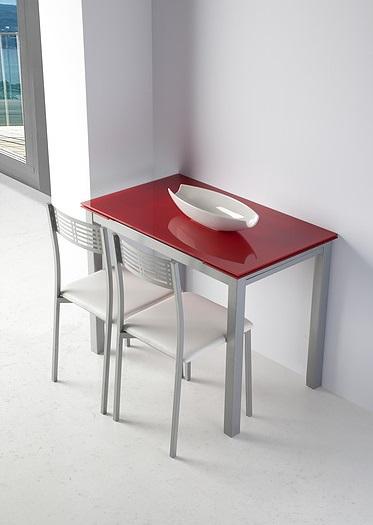 Mesa de cocina extensible Sintra cristal rojo
