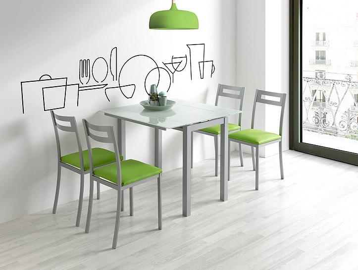 Mesa de cocina extensible Leiria cristal blanco