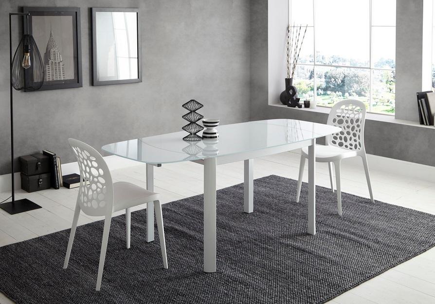 Conjunto mesa cristal blanco DT-12 sillas blanco DC-470