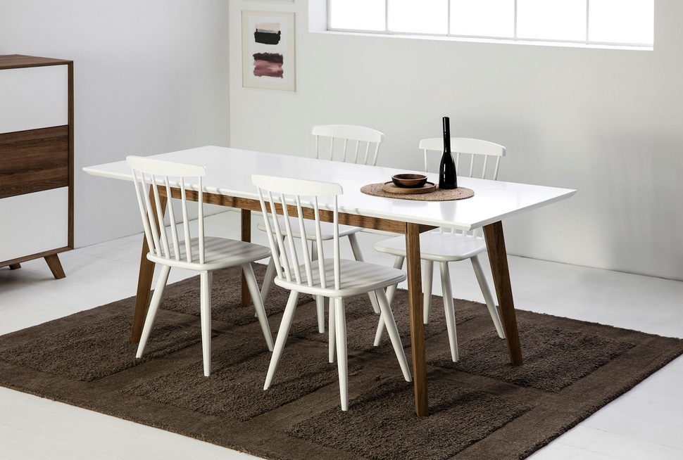 Mesa extensible Tivoli nordica blanco roble 150-90x90