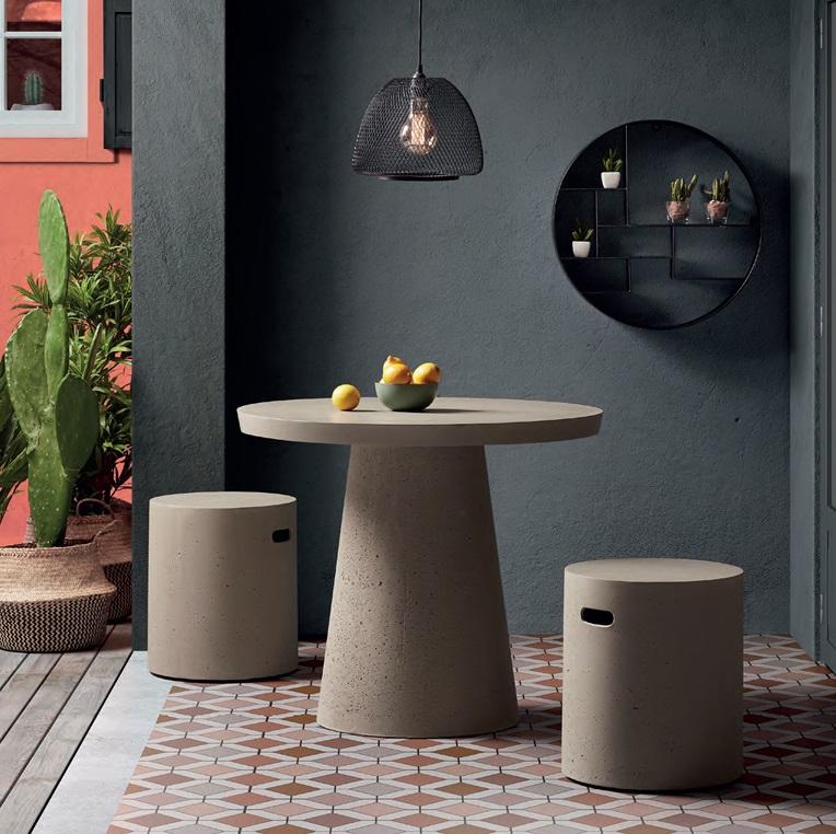 Conjunto de terraza cemento gris mesa redonda 90cm