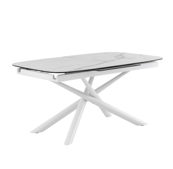 Mesa extensible Ness mármol blanco 160/220 cm