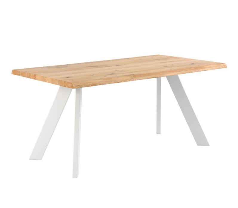 Mesa de comedor Lucia madera roble blanco 160 cm