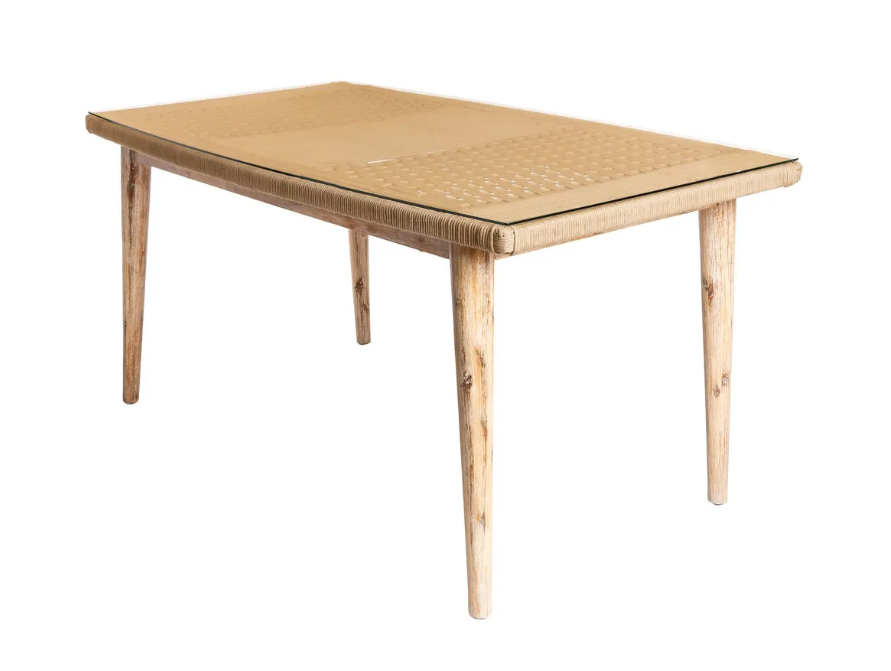 Mesa Nirit cuerda madera beige 160x90x76 cm