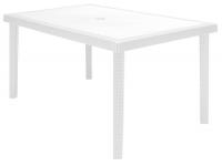 Mesa Maccao poliratan blanco 150x90