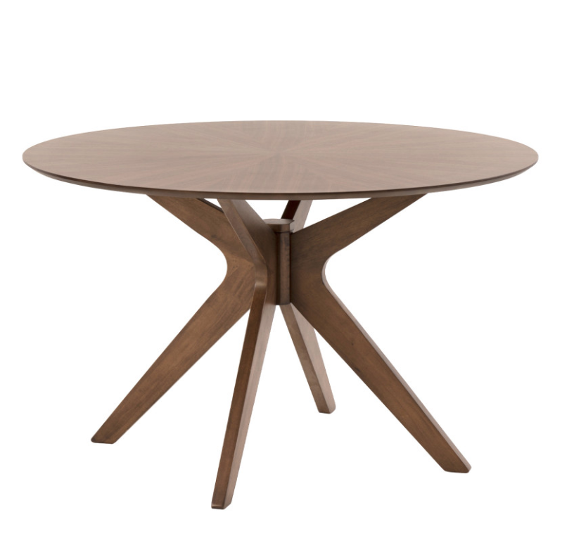 Mesa redonda Carmel de madera nogal 120 cm