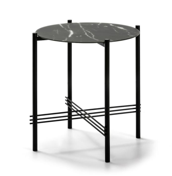 Mesa rincon Kendall cristal marmol negro 47 cm