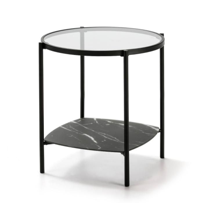 Mesa rincon redonda Kelly cristal marmol negro 49 cm