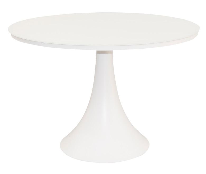Mesa Fano aluminio cristal blanco 110 cm