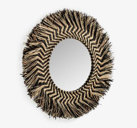 Espejo redondo Mendong de fibras naturales 60 cm