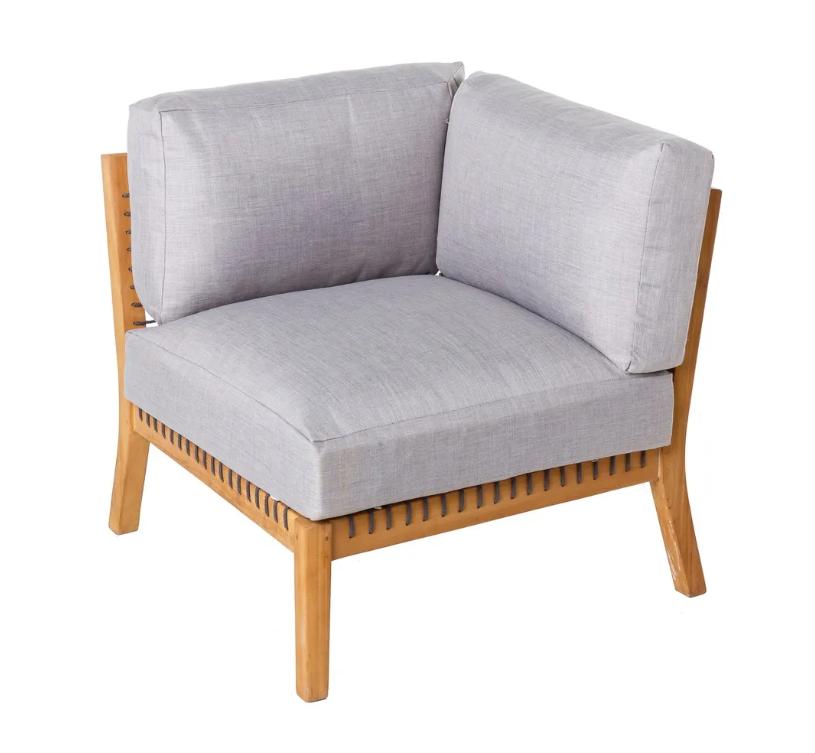 Modulo sofa esquina Maia madera de teca natural y cuerda trenzada